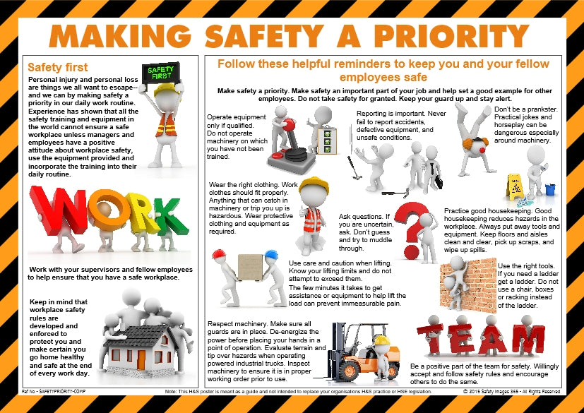Various characters underlining the importance of making safety a priority in the workplace.
