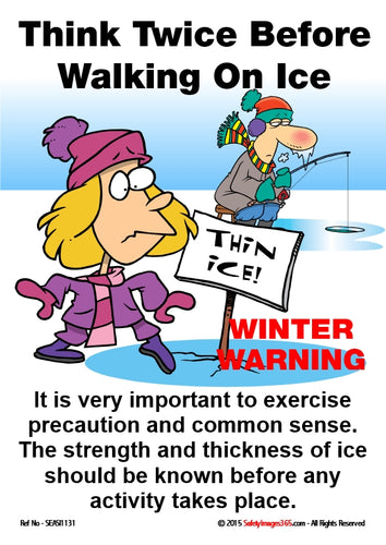 Cartoon showing a man fishing in a hole in the ice, a woman stepping on to the ice and a sign saying thin ice.