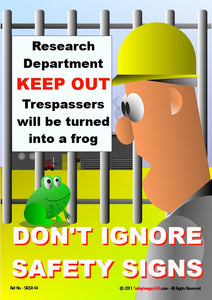 Picture of a cartoon man and a frog with a sign saying trespassers will be turned into a frog.