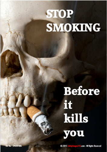 Picture of a human skull smoking a cigarette.