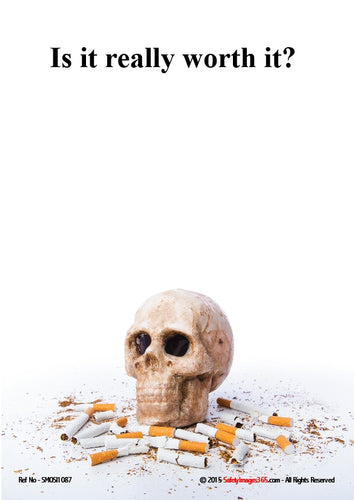 Picture of a human skull surrounded by cigarette stubs.