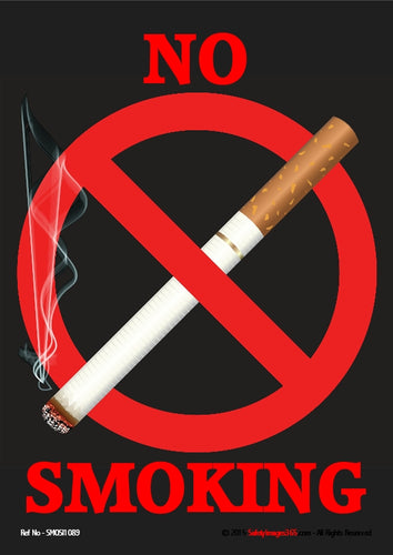 Image of a smouldering cigarette lying across a red prohibition circle.