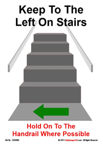 Staircase with green arrow at bottom indicating to user to keep left on the stairs.