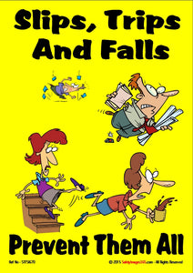 Four cartoon characters, slipping, tripping and falling.