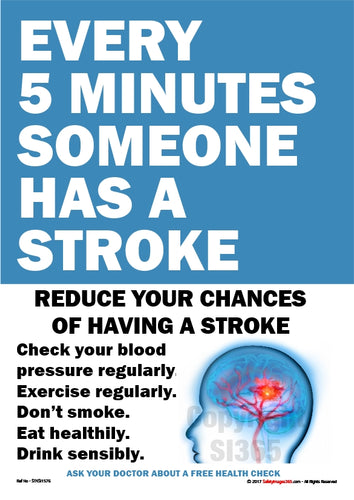 Information about how to reduce the risk of having a stroke with a picture of a human brain.