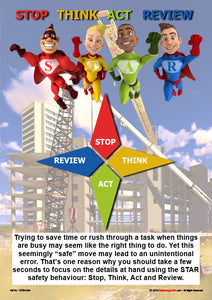 Four superheroes depict the elements of the STAR model, stop, think, act and review.