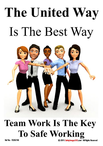 Image of a group of people at work with the caption - team work is the key to safe working.