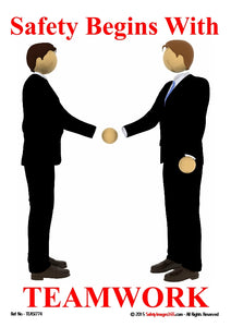 Picture of two  men facing each other and shaking hands.