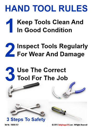 Various hand tools with a 3 point caption on Hand Tool Rules