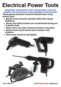 Picture shows 4 different power tools with guide to safe working practices.