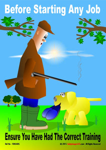 Gamekeeper with shotgun and labrador dog retrieving a pair of slippers.
