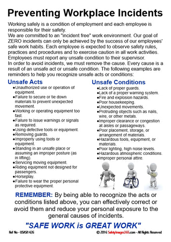 Information relating to prevention of workplace incidents explaining what is meant by unsafe acts and unsafe conditions and illustrated with images of bubblemen using crutches, in a wheelchair and with an arm in a sling.