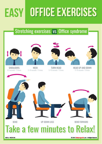 Images of a person demonstrating various exercises that can be done in the office.