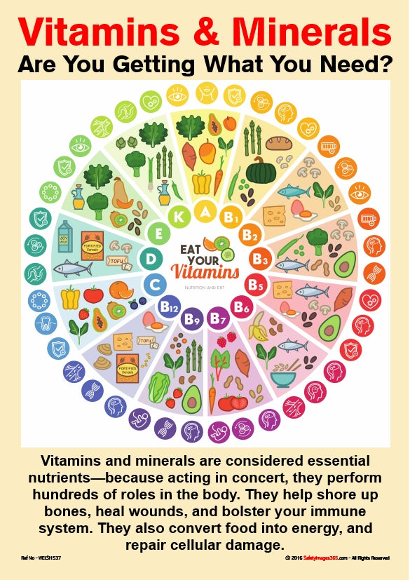 A chart with images of foods containing a range of vitamins and minerals essential to healthy body function.