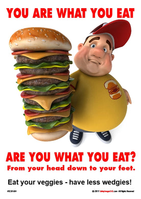 overweight 3d image of man holding a multi stack burger in front of him.