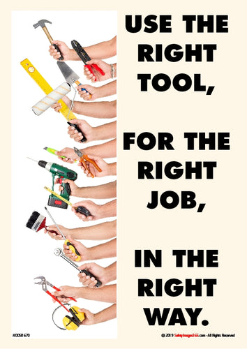 Many hands holding a variety of hand tools.