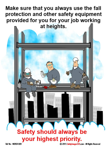 Cartoon image of three men working on scaffolding at height above the rooftops and clouds in the sky.