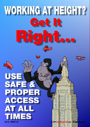 Cartoon image of an ape climbing a skyscraper.