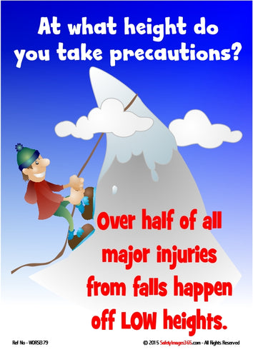 Cartoon image of a man using a rope to climb a snow-topped mountain with the caption - over half of all major injuries from falls happen off low heights.