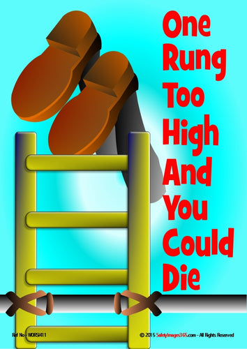 Cartoon image of a pair of boots falling from the top rung of a ladder attached to a scaffolding pole.