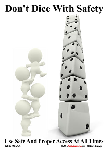 Two images - a column comprising stacked playing dice and an image of three bubblemen standing on each others shoulders.