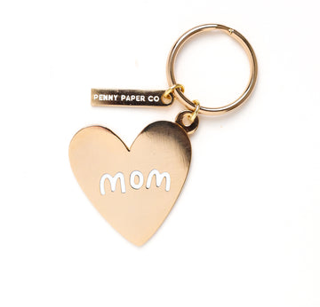 Enamel Keychain, Mom Gold Heart