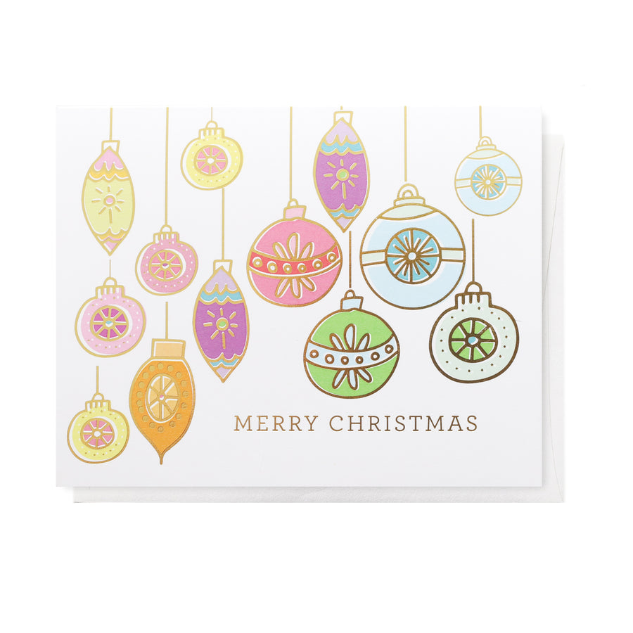 Retro Ornaments, Holiday Greeting Card