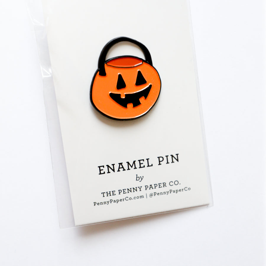 Retro Halloween Bucket, Enamel Pin