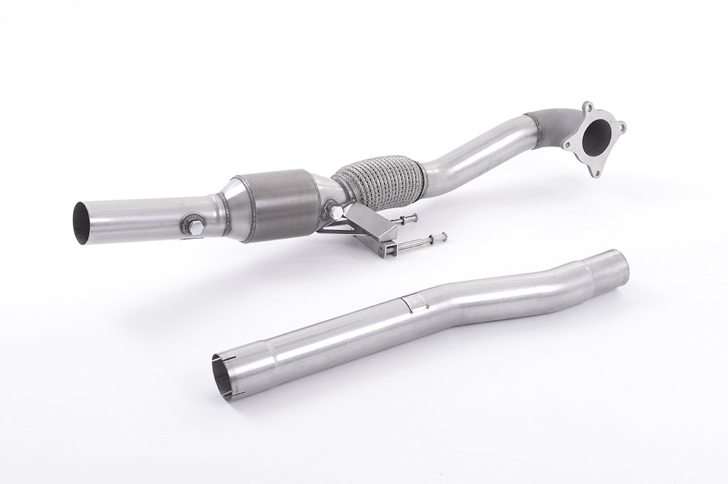 Milltek Exhaust Audi S3 2.0 T quattro Sportback 8P Cast Downpipe with HJS High Flow Sports Cat with HJS HQ 200 Cell High Flow Sports Cat. For Fitment to Milltek Sport 2.75