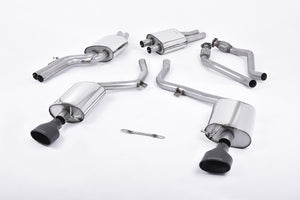 Milltek Exhaust Audi S4 3.0 Supercharged V6 B8  Cat-back EC-Approved. Dual Oval Cerakote Black Tips