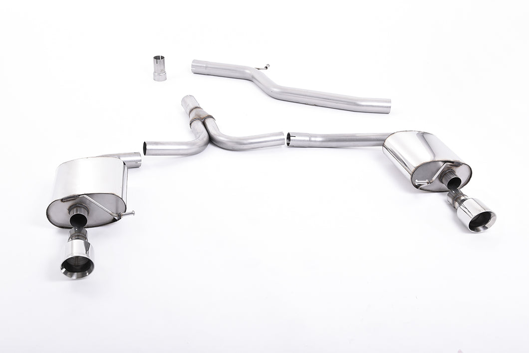 Milltek Exhaust Audi A4 2.0 TFSI S line B8 (2WD and quattro Tiptronic-only) Saloon & Avant Cat-back Non-Resonated Dual-outlet.