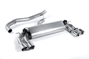 Milltek Exhaust Audi S3 2.0 TFSI quattro 3-Door 8V (Non-GPF Equipped Models Only) Cat-back Non-resonated (louder). Quad Round Polished Tips