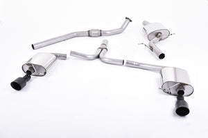 Milltek Exhaust Audi A4 2.0 TFSI S line B8 (2WD and quattro Tiptronic-only) Saloon & Avant  Cat-back Dual-outlet. Cerakote Black Tip.