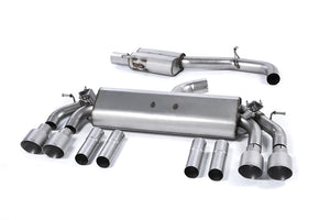 Milltek Exhaust Audi S3 2.0 TFSI quattro Saloon & Cabrio 8V (Non-GPF Equipped Models Only) Cat-back Non-resonated (louder). Quad Round Titanium Tips