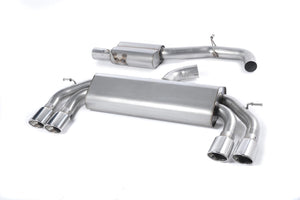 Milltek Exhaust Audi S3 2.0 TFSI quattro 3-Door 8V (Non-GPF Equipped Models Only) Cat-back Non-Valved Race System. Resonated (quieter). Quad Oval Polished Tips