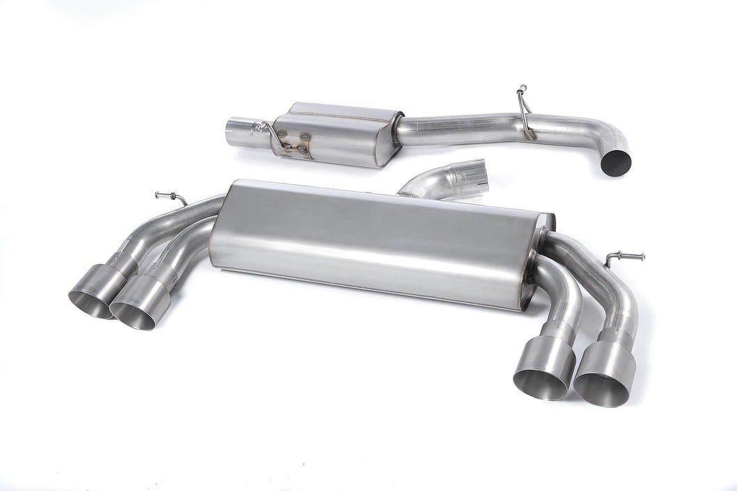 Milltek Exhaust Audi S3 2.0 TFSI quattro 3-Door 8V (Non-GPF Equipped Models Only) Cat-back Non-Valved Race System. Resonated (quieter). Quad Round Titanium Tips
