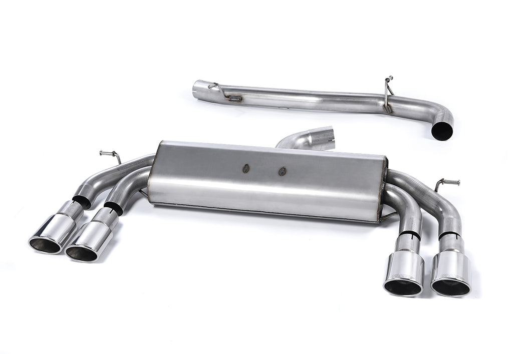 Milltek Exhaust Audi S3 2.0 TFSI quattro Sportback 8V (Non-GPF Equipped Models Only) Cat-back Non-Valved Race System. Non-resonated (louder). Quad Oval Polished Tips