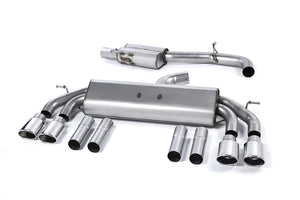 Milltek Exhaust Audi S3 2.0 TFSI quattro Saloon & Cabrio 8V (Non-GPF Equipped Models Only)  Cat-back Non-Valved Race System. Resonated (quieter). Quad Oval Polished Tips