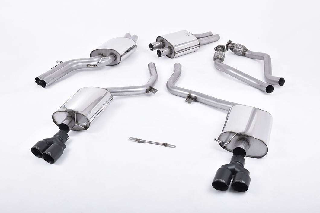 Milltek Exhaust Audi S5 3.0 Supercharged V6 B8 Cat-back EC-Approved. Quad Cerakote Black Tips