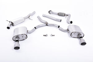 Milltek Exhaust Audi A4 2.0 TFSI B9 Quattro Saloon & Avant Cat-back Road+ Part Resonated with Dual GT-100 Titanium Trims