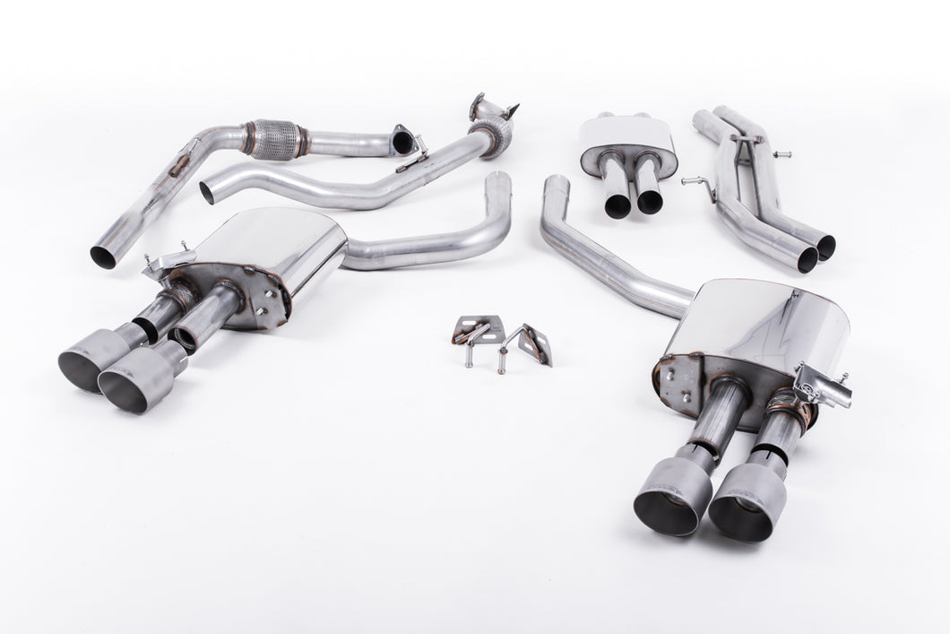 Milltek Exhaust Audi S4 3.0 Turbo V6 B9 - Saloon/Sedan & Avant (Non Sport Diff Models) Cat-back Cat Back Resonated with Quad GT-100 Titanium Trims EC Approved