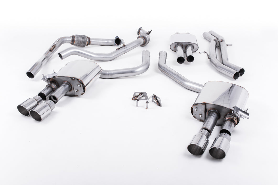 Milltek Exhaust Audi S5 3.0 Turbo V6 B9 - Saloon/Sedan & Avant (Non Sport Diff Models) Cat-back Cat Back Resonated with Quad GT-90 Polished Trims EC Approved