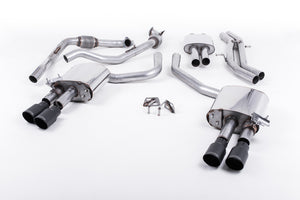 Milltek Exhaust Audi S5 3.0 Turbo V6 B9 - Saloon/Sedan & Avant (Non Sport Diff Models)  Cat-back Cat Back Resonated with Quad GT-90 Cerakote Black Trims EC Approved