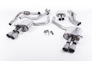 Milltek Exhaust Audi S4 3.0 Turbo V6 B9 - Saloon/Sedan & Avant (Non Sport Diff Models) Cat-back Cat Back Resonated with Quad GT-90 Titanium Trims EC Approved