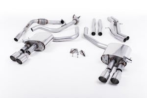 Milltek Exhaust Audi S4 3.0 Turbo V6 B9 - Saloon/Sedan & Avant (Non Sport Diff Models) Cat-back Cat Back Non-Resonated (Louder) with Quad GT-90 Polished Trims