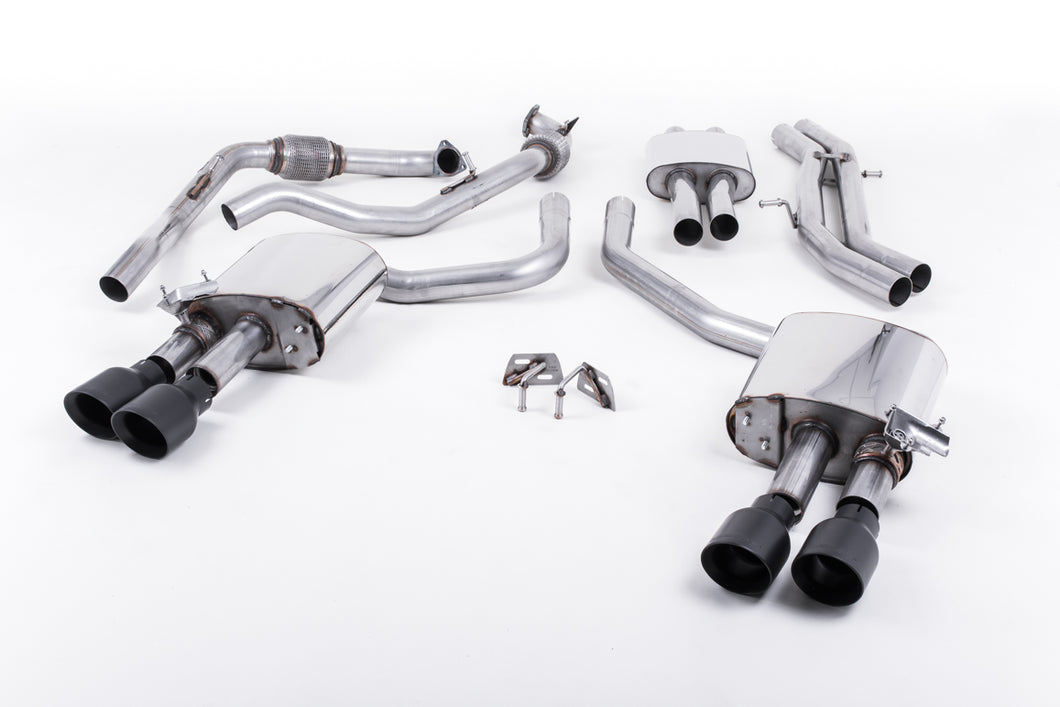 Milltek Exhaust Audi S4 3.0 Turbo V6 B9 - Saloon/Sedan & Avant (Sport Diff Models Only & Without Brace Bars)  Cat-back Cat Back Resonated with Quad GT-100 Cerakote Trims EC Approved