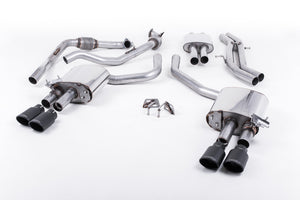 Milltek Exhaust Audi S4 3.0 Turbo V6 B9 - Saloon/Sedan & Avant (Sport Diff Models Only & Without Brace Bars) Cat-back Cat Back Resonated with Quad Cerakote Black Oval Trims EC Approved