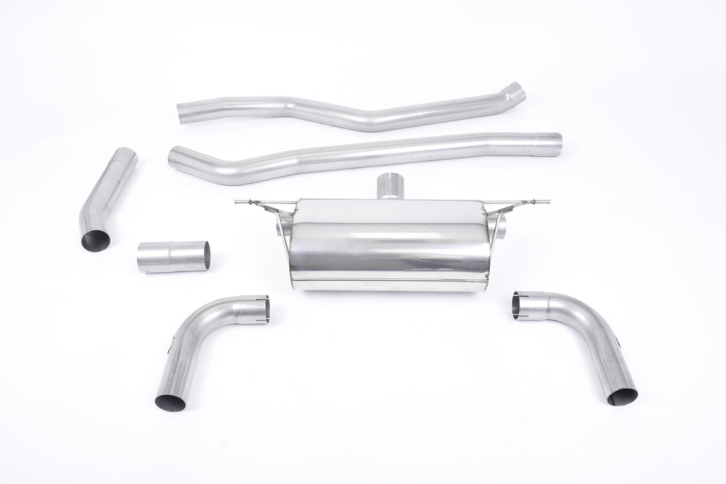 Milltek Exhaust BMW 3 Series F30 320i L M Sport (Long Wheel Base inc LCI - B48 Engine Only) Cat-back L Model - Race Non-Res Dual Outlet (Required M340i Rear Valance) Titanium GT-90 Trims