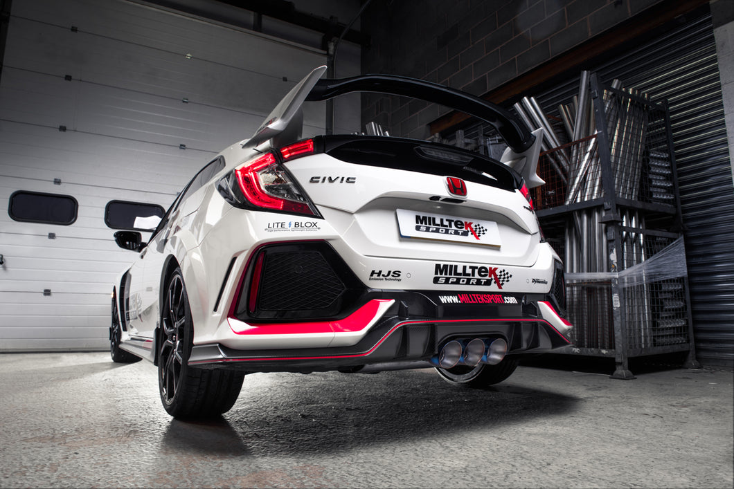 Milltek Exhaust Honda Civic FK7 1.5T Si 5 Door Hatch (Non-OPF/GPF Models Only)  Cat-back Cat Back Resonated - Type-R Style with JET-100 Carbon Trims - Requires Rear Valance to be Trimmed - EC Approval Coming Soon