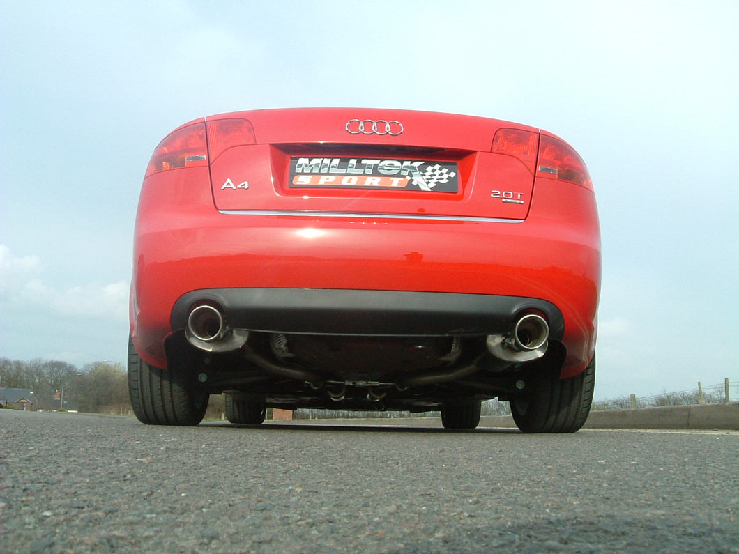 Milltek Exhaust Audi A4 2.0 TFSI B7 quattro and DTM Cat-back Non-resonated (louder) with 100mm detachable trims. Manual models only